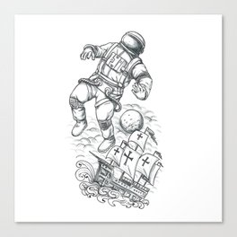 Astronaut Tethered to Caravel Tattoo Canvas Print