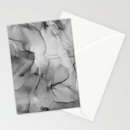 Black and White Marble Ink Abstract Painting Stationery Cards
