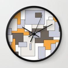 Squares - gray, orange and white. Wall Clock