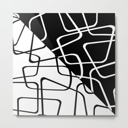 Mid Century Reflections - Black and white abstract Metal Print