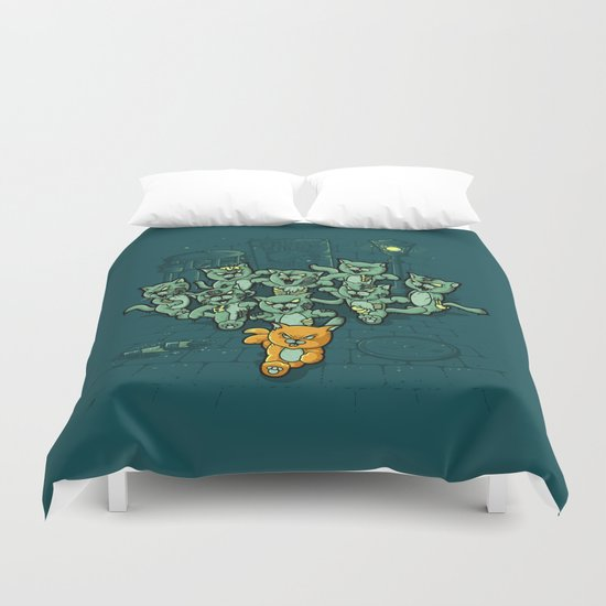 Zombie Cats Duvet Cover