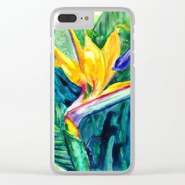 Bird of Paradise Watercolor Clear iPhone Case