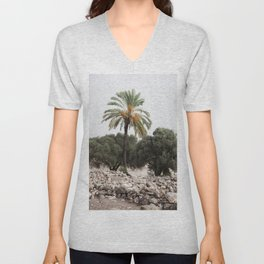 Date Palm in Megiddo Unisex V-Neck