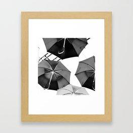 Black Umbrellas Framed Art Print