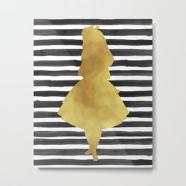 Alice black and gold. Metal Print