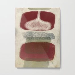 Bisected Red and Olive Shapes with Speckled Pebble Metal Print