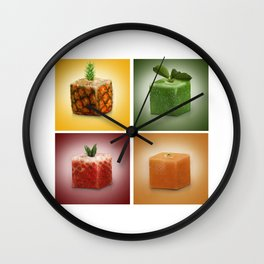 squared fruits Wall Clock