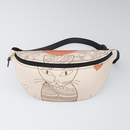 zen cat with flower and heart Fanny Pack