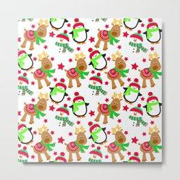 'Ugly Christmas' Snow People, Penguins, and Reindeer Pattern Metal Print