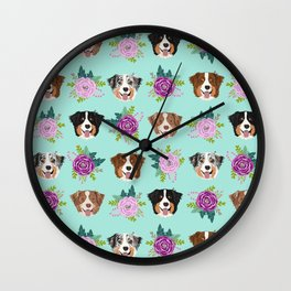 Australian Shepherd dog breed dog faces cute floral dog pattern Wall Clock