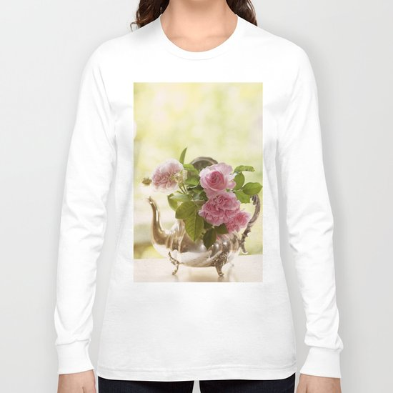 Pink English Roses in a silver Pot- Vintage Rose Stilllife Photography Long Sleeve T-shirt