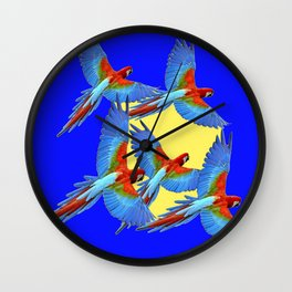 DECORATIVE FLOCK OF BLUE MACAWS & YELLOW Wall Clock