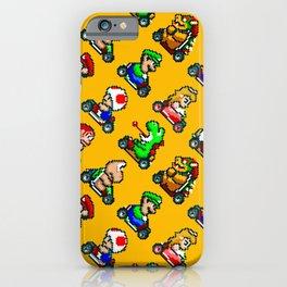 Super Mar!o Kart heroes | vintage videogame pattern | orange iPhone Case