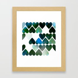 Mod Blue Hearts Framed Art Print