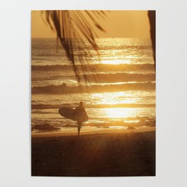 Golden Beach with Surfer (Color) Poster