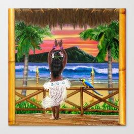 Hawaiian Sunset Hula Dancer Canvas Print