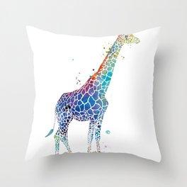 Blue Giraffe Throw Pillow