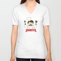 cook V-neck T-shirts featuring Let's Cook! by Lalaine Lim
