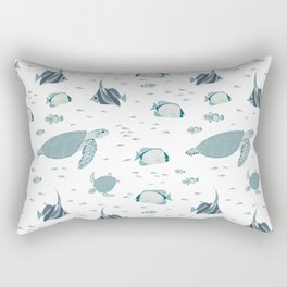 Hamptons Style Blue White Ocean Pattern Rectangular Pillow