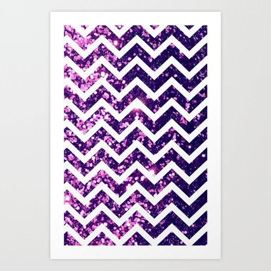Purple Blur Sparkle Chevron Art Print
