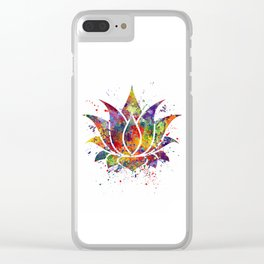 Lotus Flower 2 Watercolor Print Wall Art Wedding Gift Zen decor Clear iPhone Case