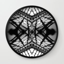 Abstract mirrored photography collage of iron fence and its shadows in black and white Wall Clock