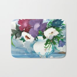 Flowers. Watercolor Bouquet Bath Mat