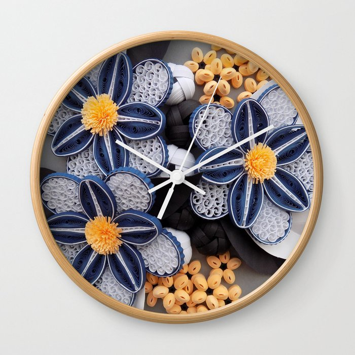 Blue Paper Quilled Flowers Floral Home Decoration Abstract Still