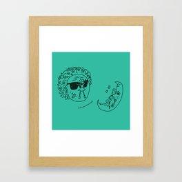 Sun & Moon, Aqua Framed Art Print