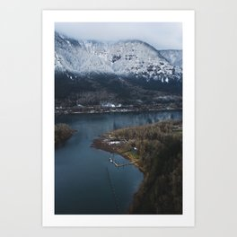 Dock in the Columbia River Gorge Art Print