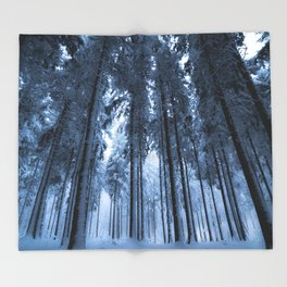 Snowy Winter Trees - Forest Nature Photography Throw Blanket