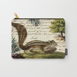 Rustic christmas winter evergreen pine tree woodland chipmunk Carry-All Pouch
