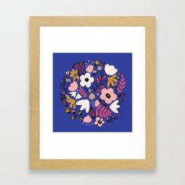 Fantasy flowers on blue Framed Art Print