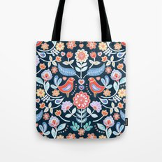 Happy Folk Summer Floral on Navy Tote Bag
