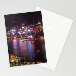 Night Lights on Hong Kong's Victoria Harbour Stationery Cards