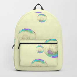 IRIDESCENT SOAP BUBBLES  ON YELLOW COLOR Backpack