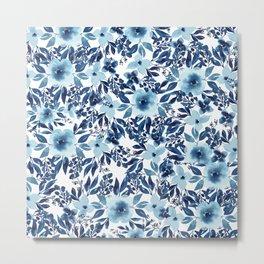 Blue Willow Florals Metal Print