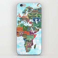 World Stamp Map iPhone & iPod Skin