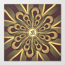 Om Mandala, Purple and Gold Fractal, Spiritual Gift, Yoga Lifestyle Canvas Print