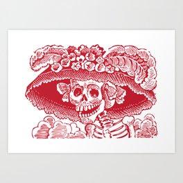 Calavera Catrina | Red and White Art Print
