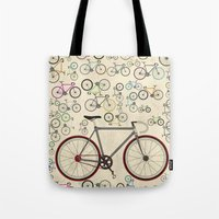 brompton Tote Bags featuring Love Fixie Road Bike by Wyatt Design
