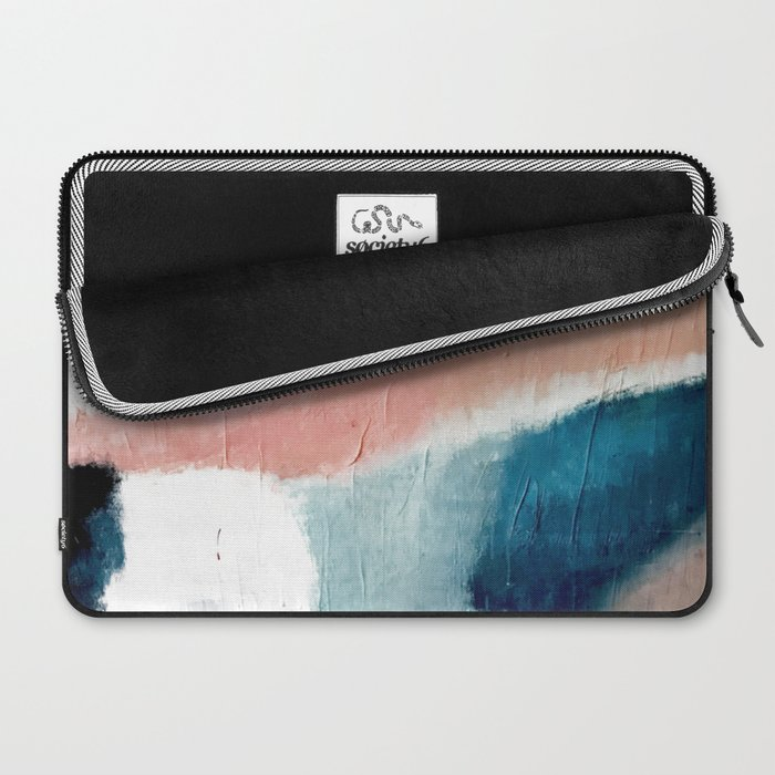 Exhale: a pretty, minimal, acrylic piece in pinks, blues, and gold Laptop Sleeve