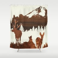 woodland Shower Curtains featuring woodland by jefdesigns