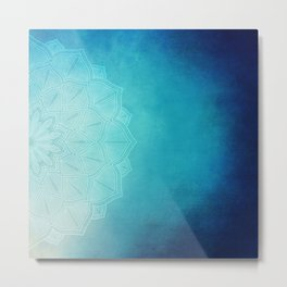 Half Blue Mandala Metal Print