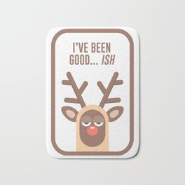 Rudolph Red Nose Reindeer Naughty Nice Good Bad List Funny Bath Mat