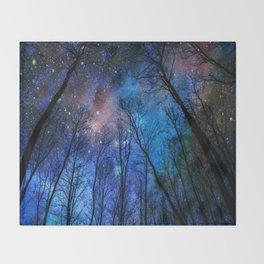 Black Trees Dark Blue Space Throw Blanket