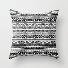 Ethnic stripes in black and white Throw Pillow