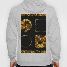 Golden Shapes - Abstract, black and gold, circles and squares, geometric, metallic art Hoody