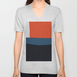 Blue and red composition XIX Unisex V-Neck
