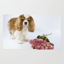 Cavalier King Charles Spaniel With Pink Roses Rug